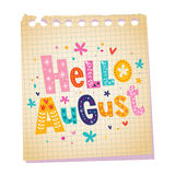 Hello August. Notepad paper message with unique lettering Stock Image