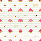 Hello august seamless pattern with watermelon pieces and flying bees. Vector stock illustration