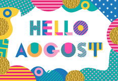 Hello AUGUST. Trendy geometric font in memphis style of 80s-90s. Abstract geometric background Stock Photos