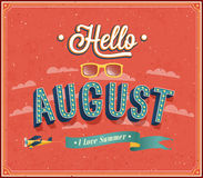 Hello august typografisk design. Royaltyfri Fotografi