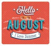 Hello august typographic design. Stock Photography