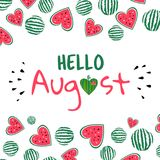 Hello august watermelon card. Hello August card. Banner with inscription hello august and sliced watermelon. Watermelon and heart. Background for card, calendar royalty free illustration