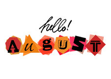 Hello August. Welcoming card with lettering Stock Image