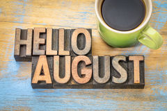 Free Hello August Word Abstract In Wood Type Stock Image - 93101131
