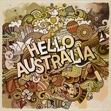 Hello Australia hand lettering and doodles elements. Hello Australia country hand lettering and doodles elements and symbols background. Vector hand drawn Royalty Free Stock Photos