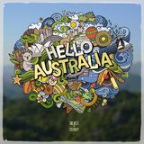 Hello Australia hand lettering and doodles elements and symbols emblem. Vector blurred background Stock Photography
