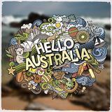 Hello Australia hand lettering and doodles elements and symbols emblem. Vector blurred background Royalty Free Stock Photo