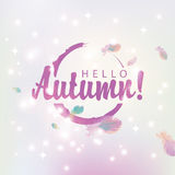 Hello autumn on abstract pink background. Banner hello autumn on abstract pink background of stars and glare with bird feathers Royalty Free Stock Images