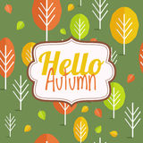 Hello autumn. Autumn card, autumn background. Autumn design. Hello autumn. Autumn card. Vector background with autumn trees Royalty Free Stock Photo