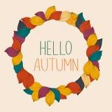Hello autumn. Autumn leafs on the background. Flat design modern. Vector illustration concept royalty free illustration