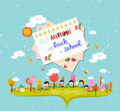Hello autumn and back to school. autumn banner background Stock Photos
