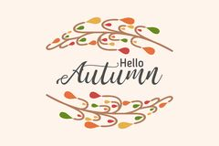 Hello autumn background with abstract trees. Nature autumnal vector concept. Orange and yellow leaf seasonal illustration royalty free illustration