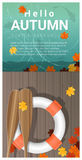 Hello autumn background with colorful leaves on wooden pier. Vector , illustration Stock Photography
