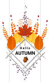 Hello autumn background with decorative wreath on wooden board Stock Image