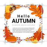 Hello autumn background with decorative wreath on wooden board Stock Photos