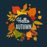 Hello autumn background with fall leaves. Nature autumnal vector concept. Orange and yellow leaf seasonal illustration Stock Illustration