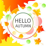 Hello autumn background. With falling leaves and circles Stock Photography