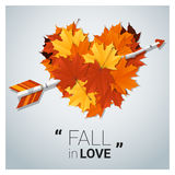 Hello autumn background with heart shape leaves and arrow. Vector , illustration Stock Images