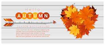 Hello autumn background with heart shape leaves and arrow on wooden board. Vector , illustration Stock Images