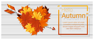 Hello autumn background with heart shape leaves and arrow on wooden board. Vector , illustration Royalty Free Illustration
