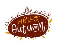 Hello Autumn. Background with Leaves. Modern brush calligraphy. Vector illustration. Isolated on white background stock illustration