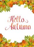 Hello Autumn background, with maple leaf watercolor vector style and foliage. Hello Autumn background, with maple leaf watercolor vector style and foliage Stock Images