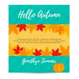 Hello autumn background with pumpkin and foliage Stock Photography