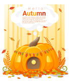 Hello autumn background with pumpkin house Stock Photo