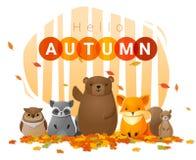 Hello autumn background with wild animals vector illustration