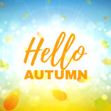Hello autumn banner. Beautiful background with the falling leaves. Vector illustration Royalty Free Stock Photography
