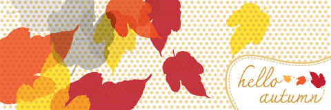 Hello autumn banner with dot pattern Royalty Free Stock Image