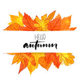 Hello autumn banner with orange and red hand drawn leaves. Vector calligraphy design. Fall background with golden leaf. Royalty Free Stock Images