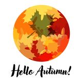 Beautiful Card with Lettering and Autumn Leaves stock illustration