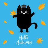 Hello autumn. Black cat Graduation hat Academic. Cap Orange red fall leaf. Happy surprised emotion. Cute funny cartoon baby character. Pet animal collection Royalty Free Stock Photos