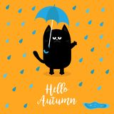 Hello autumn. Black cat holding blue umbrella. Rain drops, puddle. Angry sad emotion. Hate fall. Cute funny cartoon baby character. Pet animal collection stock illustration