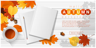 Hello autumn with blank notebooks on wooden board background Stock Photography
