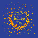 Hello autumn blue background. Template for design banner,ticket, leaflet, card, poster and so on Royalty Free Stock Photo