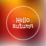 Hello, Autumn blurred background. Template design of logo, badges, labels, stamp silhouette Hello, Autumn. Doodle orange blurred background. Vector. Trendy Stock Images