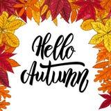 Hello autumn.Border with autumn leaves. Design element for emblem, poster, card, banner, flyer, brochure. Vector illustration vector illustration