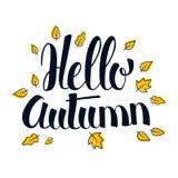 Hello Autumn, Calligraphy season banner design, illustration. Hello Autumn, Calligraphy season banner design, vector illustration Stock Image