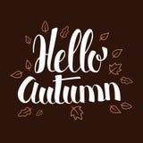 Hello Autumn, Calligraphy season banner design, illustration. Hello Autumn, Calligraphy season banner design, vector illustration Stock Photo