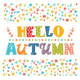 Hello Autumn card. Autumn landscape background Royalty Free Stock Photography