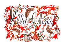 Text Hello Autumn in frame with leaves. Watercolor painted illustration. Hello Autumn card. Decorative frame with colorful leaves. Watercolor painted stock illustration