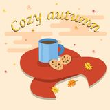 Hello Autumn card.Greeting coffee banner for autumn background. Autumn card.A cup of coffee with modern leaves. Vector illustration flat style Royalty Free Stock Photo