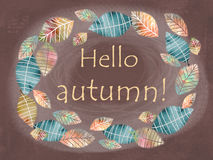 Hello autumn card. Hand drawn different colored autumn leaves. stock illustration