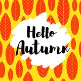 Hello autumn  card. Hello autumn card. Modern calligraphy typographical design. Can be used for greeting cards, planners, diary, calendar, poster, save the date Stock Photography