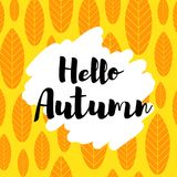 Hello autumn  card. Hello autumn card. Modern calligraphy typographical design. Can be used for greeting cards, planners, diary, calendar, poster, save the date Royalty Free Stock Photo