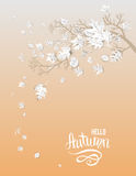 Hello autumn card. Autumn leaves card template for design banner,ticket, leaflet, card, poster and so on Stock Image