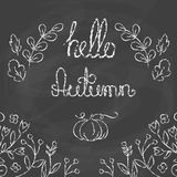 Hello Autumn Card with lettering. Royalty Free Stock Photos