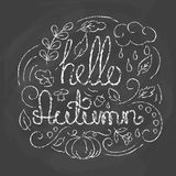 Hello Autumn Card with lettering. Royalty Free Stock Images